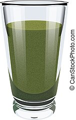Vector realistic portrayal of high glass cup with green smoothies. Healthy eating right. Vegan