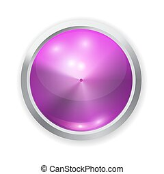Vector realistic purple glass button with patch of light and metal elements