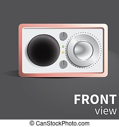 Vector realistic radio reciever. Front view object