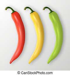 Vector realistic red, yellow and green hot natural chili...
