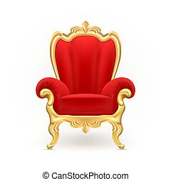 Vector realistic royal throne, luxurious red chair