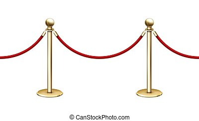 Vector realistic seamless golden barrier rope barrier in a row with red velvet rope
