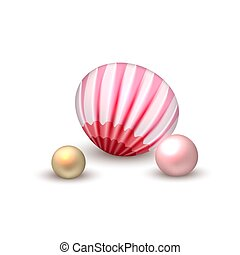 Vector realistic seashell with pearls vacation