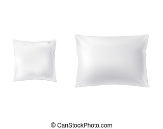 Vector realistic set of two white pillows