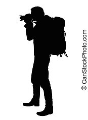Vector realistic silhouette of a standing photographer with a backpack on the back, isolated
