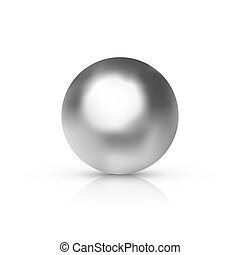 Vector realistic silver or chrome ball with shadow isolated on white background.