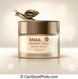 Vector realistic skin care product with snail - moisturizing...