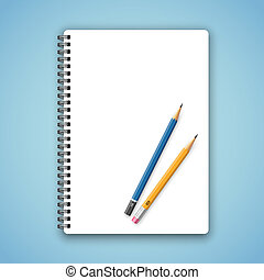 Vector realistic spiral notebook and detailed pencil
