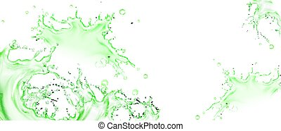 Vector realistic splash of green tea or lime juice