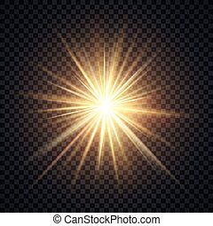 Vector realistic starburst lighting effect, yellow sun with...