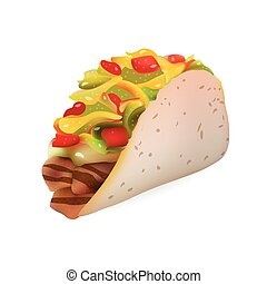 Vector Realistic Taco Illustration . Isolated On White Background