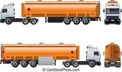 Vector realistic tanker truck template isolated on white