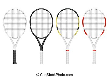 Vector realistic tennis racket set, closeup isolated on white background. Design template in EPS10.