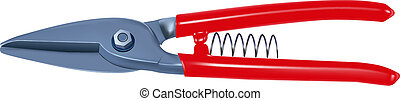 vector realistic tin snips on white background