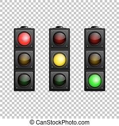 Vector realistic traffic light set. Isolated. Led backlight...