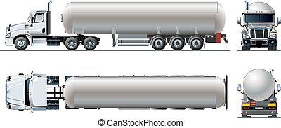 Vector realistic tunker truck template isolated on white. ...