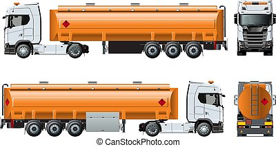 Vector realistic tunker truck template isolated on white