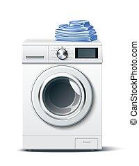 Vector realistic washing machine white 3d mockup