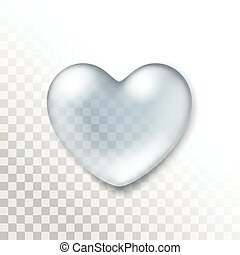 Vector Realistic Water Heart Drop Isolated
