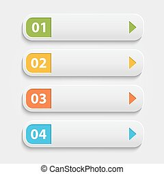 Vector realistic Web buttons, infographic with numbers over whi