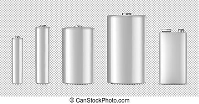 Vector realistic white alkaline batteriy icon set. Diffrent size - AAA, AA, C, D, PP3. Design template for branding, mockup. Closeup isolated on transparent background. Stock vector.