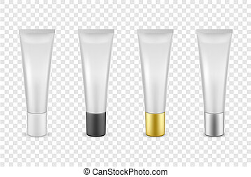 Vector realistic white blank plastic closed cosmetic tube...