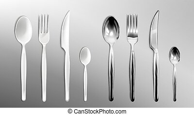 Vector realistic white plastic and steel cutlery