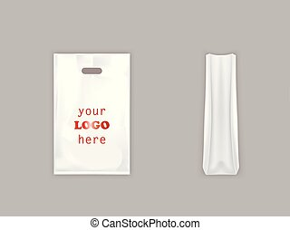Vector realistic white plastic bag with handle