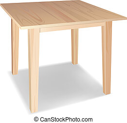 wooden table - vector realistic wooden table on awhite ...