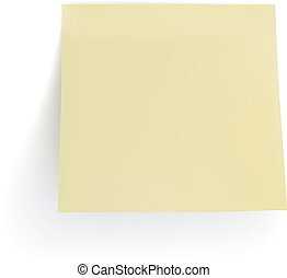 Vector realistic yellow sticker isolated on white background.