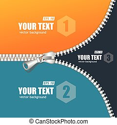 Vector realistic zippers banner 1 2 3 concept. Background and text