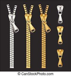 Vector realistic zippers type set