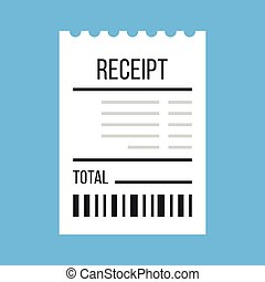 Vector receipt icon. Flat design vector illustration