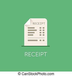 Vector Receipt Icon. The bill with total cost illustration. Flat style design.