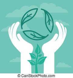 vector, reciclar, emblema, con, manos humanas