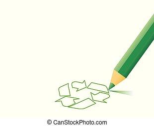 vector, reciclar, señal