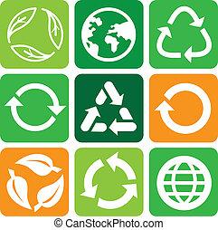 vector, reciclar, señales, y, símbolos