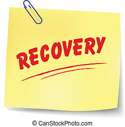 Vector illustration of recovery paper message on white background