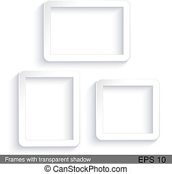 Vector rectangle white frames with transparent shadow - EPS...