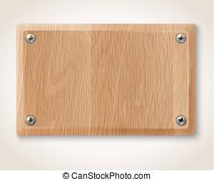 Vector rectangular wooden plate