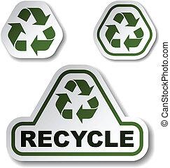 vector recycle green arrow stickers