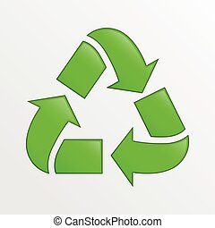 Vector recycle icon, green creative illustration on light gray background, ecology and environment theme element