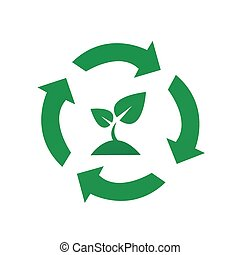 Vector recycle signs with plant