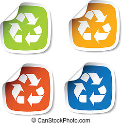 vector recycle stickers