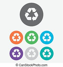 vector recycle symbol. recycle vector icon. Round circle buttons