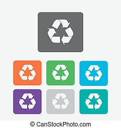 vector recycle symbol. recycle vector icon. Round squares buttons