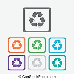 vector recycle symbol. recycle vector icon. Round squares buttons with frame.