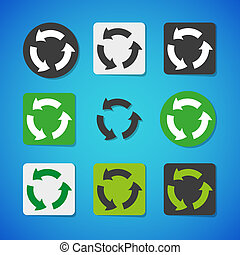 vector, recycling, set, pictogram