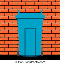vector  recycling wheelie bin against the background of a brick wall