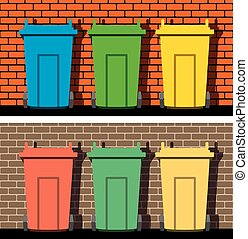 vector recycling wheelie bins against the background of a brick wall